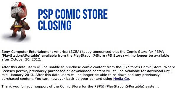 PSP Comic Store Closing