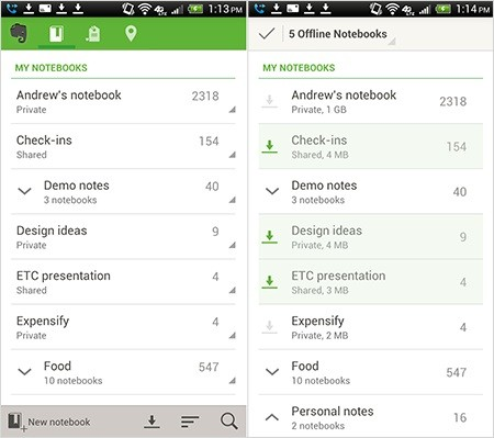 Evernote for Android update