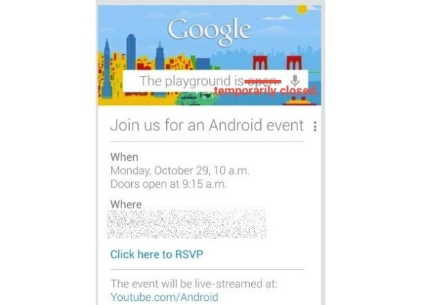 Google Oct 29 Event Postponed