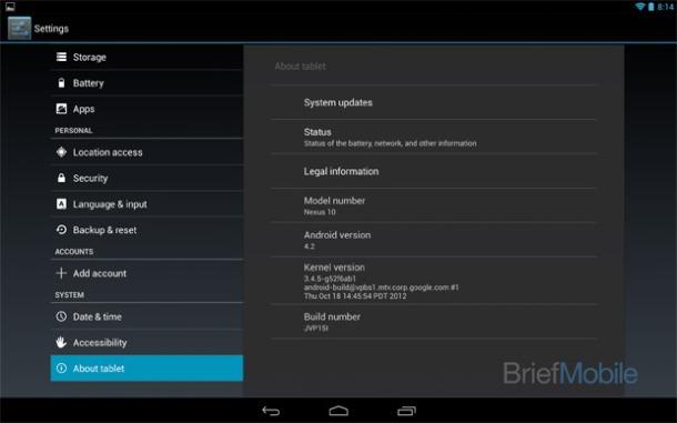 Nexus 10 Android 4.2 screenshot leak