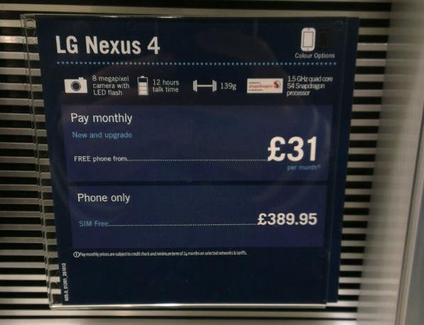 Nexus 4 Leaked Carphone Warehouse in-store display placard