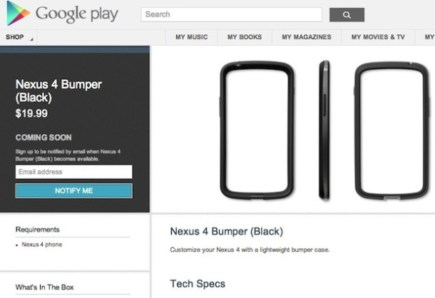 Nexus 4 Bumper Google Play
