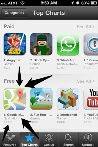 Google Maps Tops on App Store