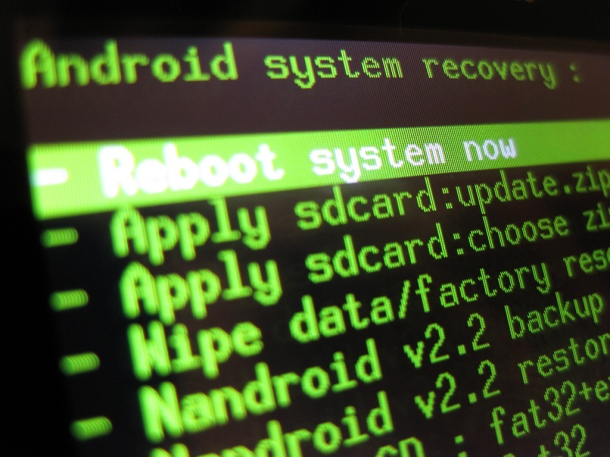 Recovery Screen of Rooted Android Phone