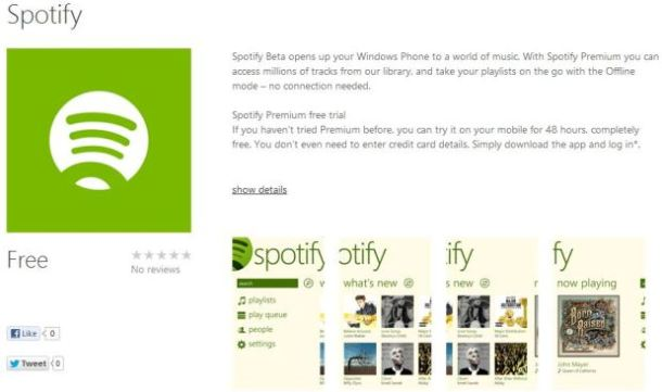Spotify for Windows Phone 8