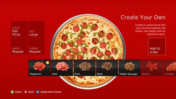 Pizza Hut App for Xbox Console